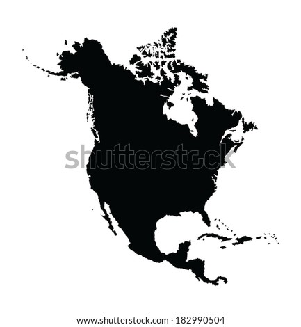 North America vector Map isolated on white background. High detailed. - stock vector