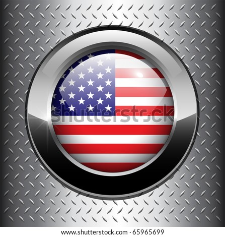 North American USA flag button on metal background, vector. - stock vector