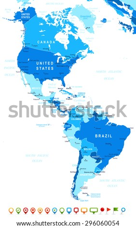 North and South America - map and navigation icons - illustration - stock vector