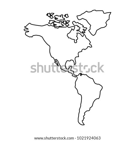 North South America Map Continent Stock Vector 1021924063 Shutterstock