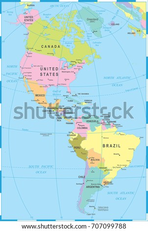 North South America Map Highly Detailed Stock Vector - North and south america map