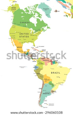 North and South America - map - illustration - stock vector