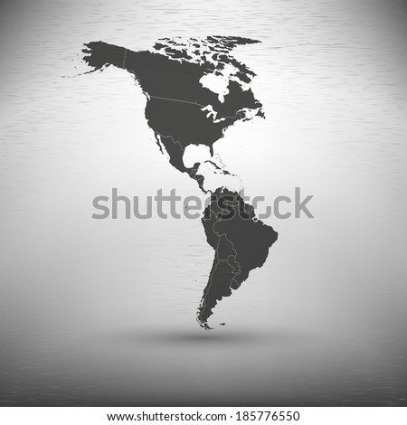 North and South America map on the gray background vector - stock vector