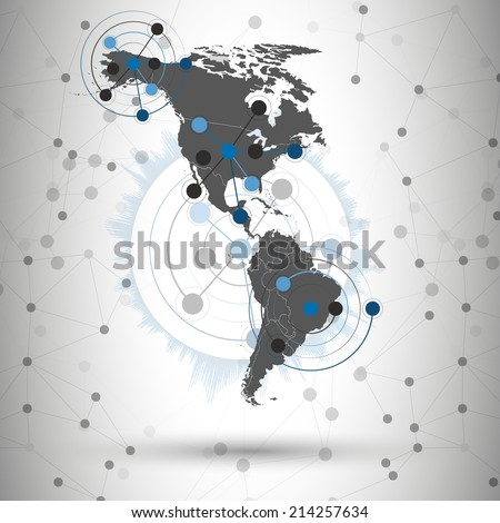 North and South America map vector illustration, background for communication - stock vector
