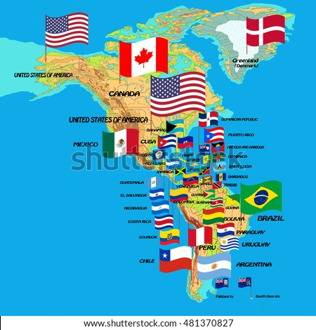 North and South America, map with flags and country names. Vector illustration. Flags and names are on separate layers
