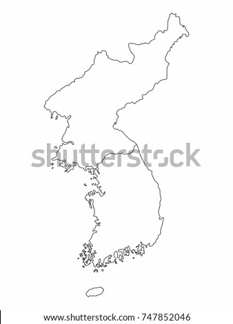 North South Korea Map Outline Graphic Stock Vector - south map outline