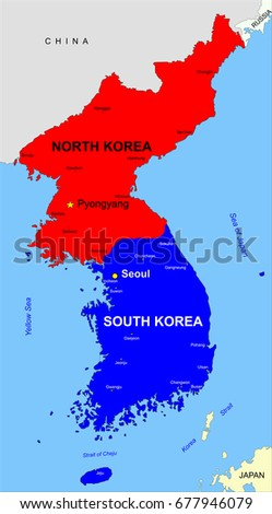 North south korea political color map vector de stock677946079 north and south korea political color map national borders important cities english labeling gumiabroncs Gallery