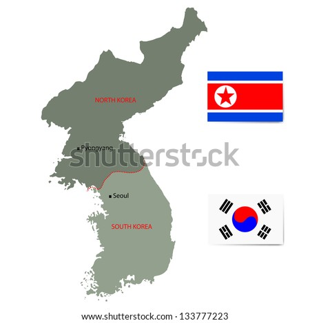 North south korea vector map flags vectores en stock 133777223 north and south korea vector map with flags isolated on white background gumiabroncs Image collections