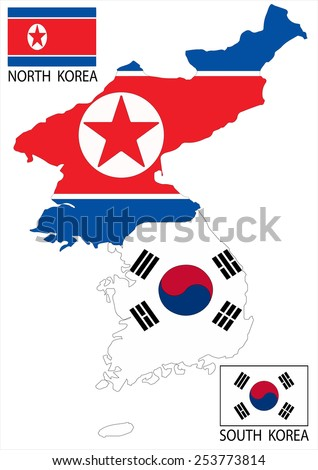 North and South Korea Vector maps and flags