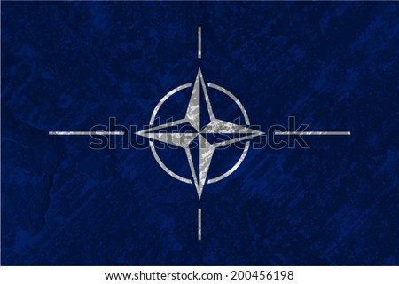 North Atlantic Treaty Organization, NATO Flag on concrete textured background
