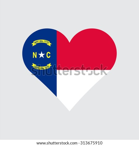 North Carolina flag heart . Love to country and state. Vector illustration EPS8 - stock vector