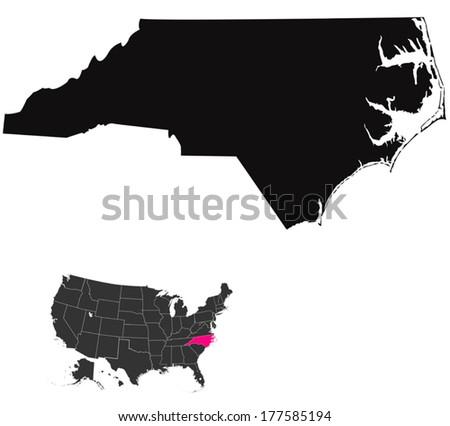 North Carolina map - stock vector