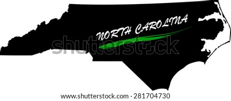 North Carolina map vector in black and white background, North Carolina map outlines in a new design - stock vector