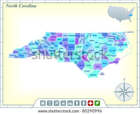 North Carolina Map Stock Images RoyaltyFree Images Vectors - State map north carolina