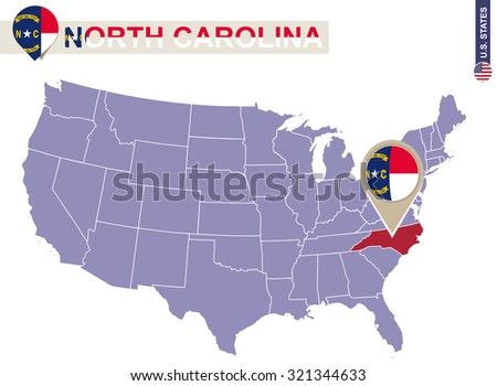 North Carolina State On Usa Map Stock Vector Shutterstock - North carolina in us map