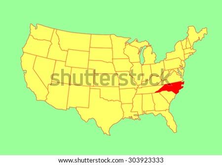 North Carolina State Usa Vector Map Stock Vector - North carolina on the us map