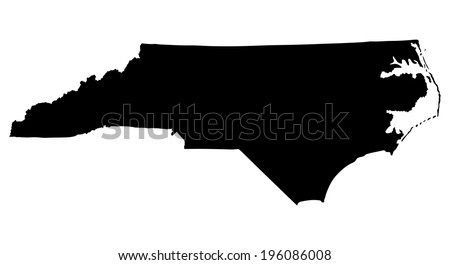 North Carolina State vector map isolated on white background. High detailed silhouette illustration.  - stock vector