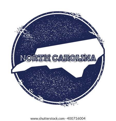 North Carolina vector map. Grunge rubber stamp with the name and map of North Carolina, vector illustration. Can be used as insignia, logotype, label, sticker or badge of USA state. - stock vector