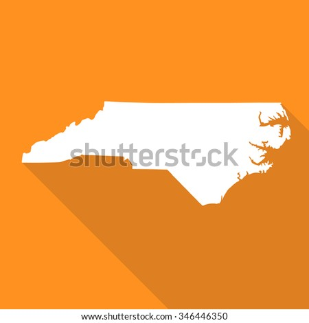 North Carolina white map,border flat simple style with long shadow on orange background - stock vector