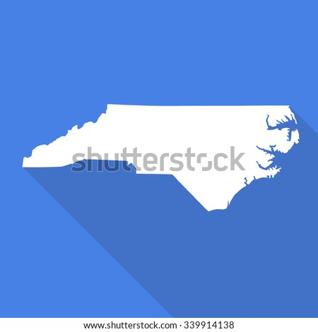 North Caroliona white map,border flat simple style with long shadow on blue background - stock vector