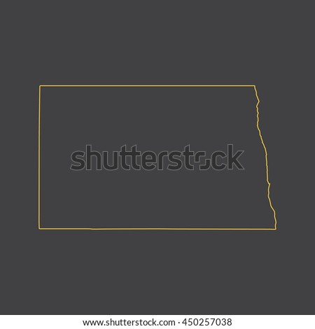 North Dakota map,outline,stroke,line style
