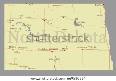 North Dakota Oklahoma Detailed Vector State Map With Pastel Yellow Ilration With Main Roads United