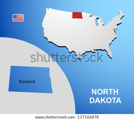North Dakota on USA map with map of the state