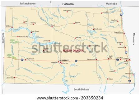 north dakota road map - stock vector