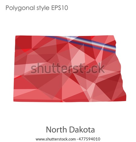 North Dakota state map in geometric polygonal style.Abstract gems triangle,modern design background. Vector illustration EPS10