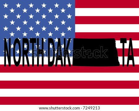 North Dakota text with map on American flag illustration