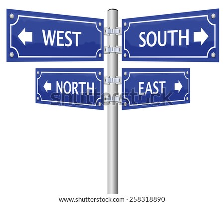 North, east, south and west - the cardinal points - written on four signposts. Isolated vector illustration on white background. - stock vector