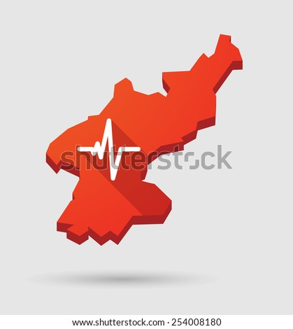 North Illustration of a  Korea map with a heart beat sign - stock vector