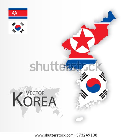 North Korea ( Democratic People 's Republic of Korea ) and South Korea ( Republic of South Korea ) ( flag and map ) ( transportation and tourism concept ) - stock vector