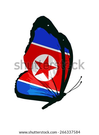 North Korea flag butterfly - vector