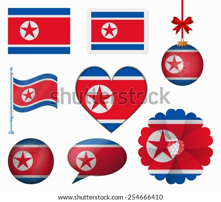 North Korea flag set of 8 items vector