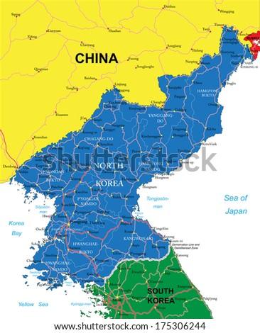North Korea map - stock vector