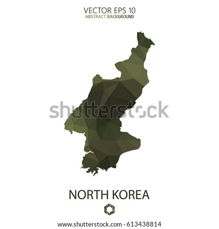 North Korea map in geometric polygonal military style.Abstract tessellation,modern design background. Vector illustration eps 10.