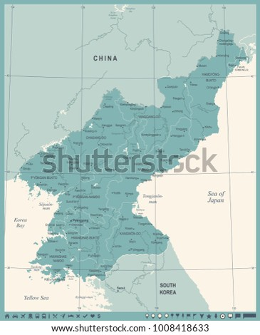 North Korea Map - Vintage High Detailed Vector Illustration