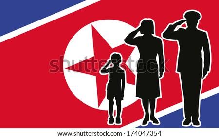 North Korea soldier family salute - stock vector