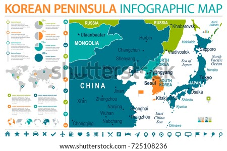 North korea south korea japan china vector de stock725108236 north korea south korea japan china russia mongolia map detailed info graphic vector illustration gumiabroncs Image collections