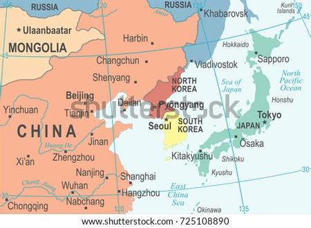North korea south korea japan china stock vector royalty free north korea south korea japan china russia mongolia map detailed vector illustration gumiabroncs Choice Image