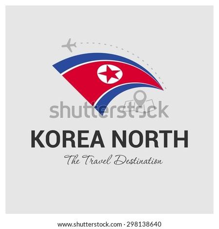 North Korea The Travel Destination logo - Vector travel company logo design - Country Flag Travel and Tourism concept t shirt graphics - vector illustration - stock vector