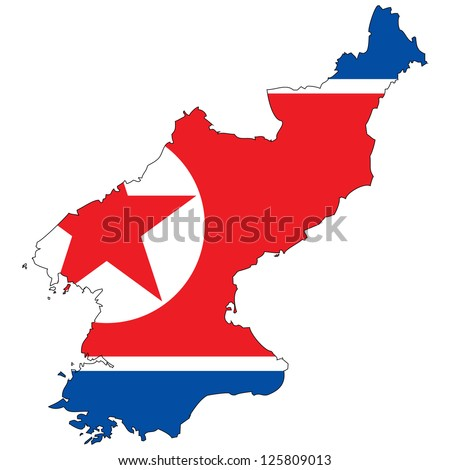 North Korea vector map with the flag inside.