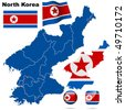 North Korea vector set. Detailed country shape with region borders, flags and icons isolated on white background. - stock vector