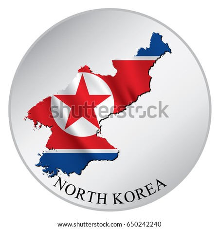 North korea vector sticker with flag and map label round tag with country name