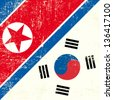 North Korean and South Korean Flag. this flag represents the relationship  between North Korea and South Korea - stock photo