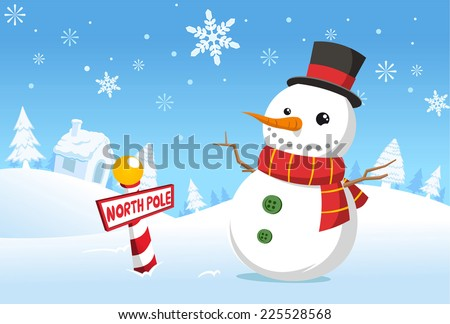 North pole christmas snowman vector cartoon illustration - stock vector