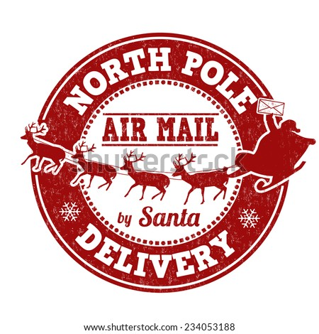 North Pole delivery grunge rubber stamp on white background, vector illustration - stock vector