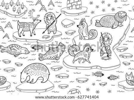 Inuit art stock images royalty free images vectors for Inuit coloring pages