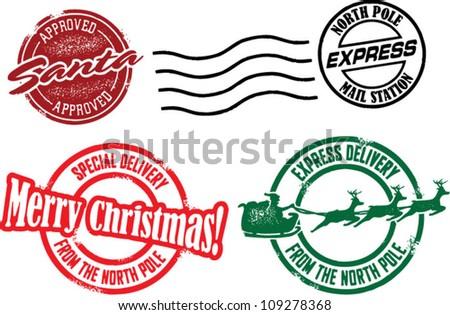 North Pole & Santa Christmas Stamps - stock vector